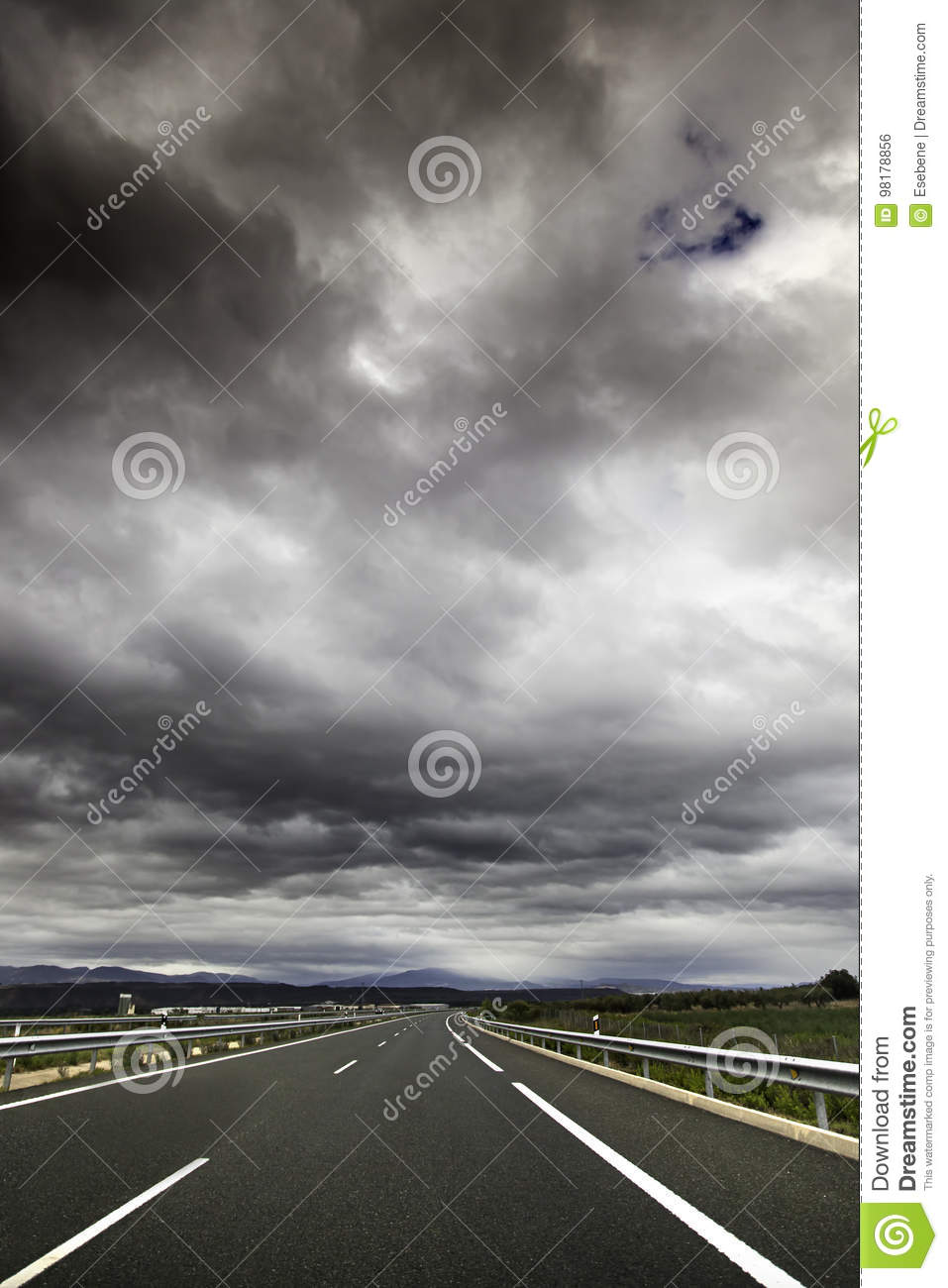 Mountain road on a stormy day