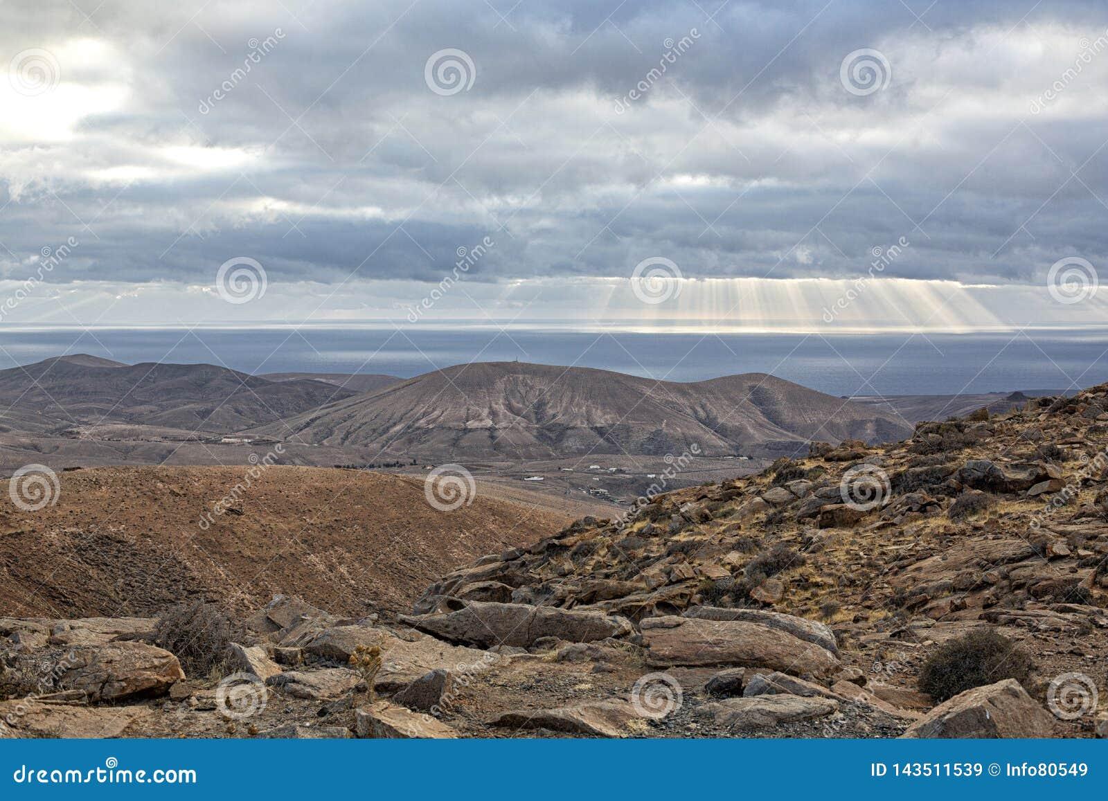 Mountain and sea landscape of Fuerteventura