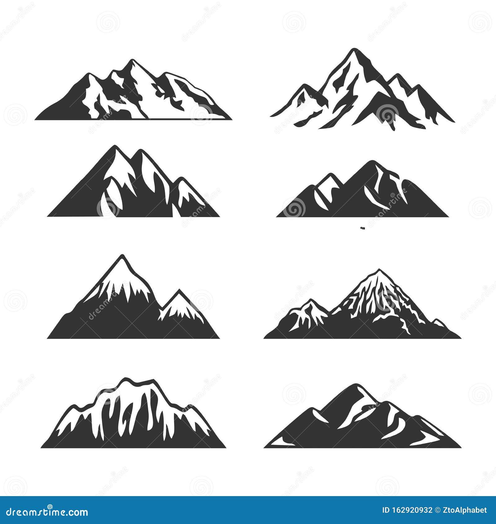 Mountain Silhouette Clip Art Set Stock Vector Illustration Of Clip Pine 162920932