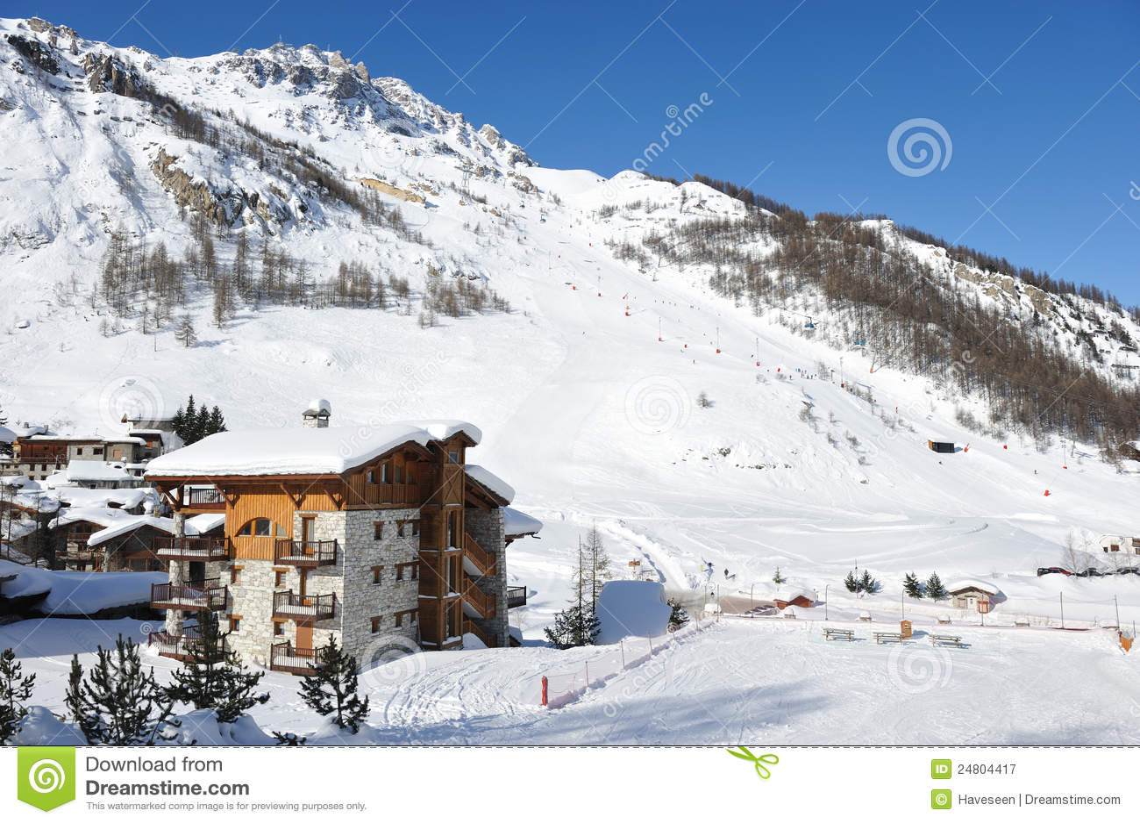 mountain ski resort stock image. image of scene, europe - 24804417