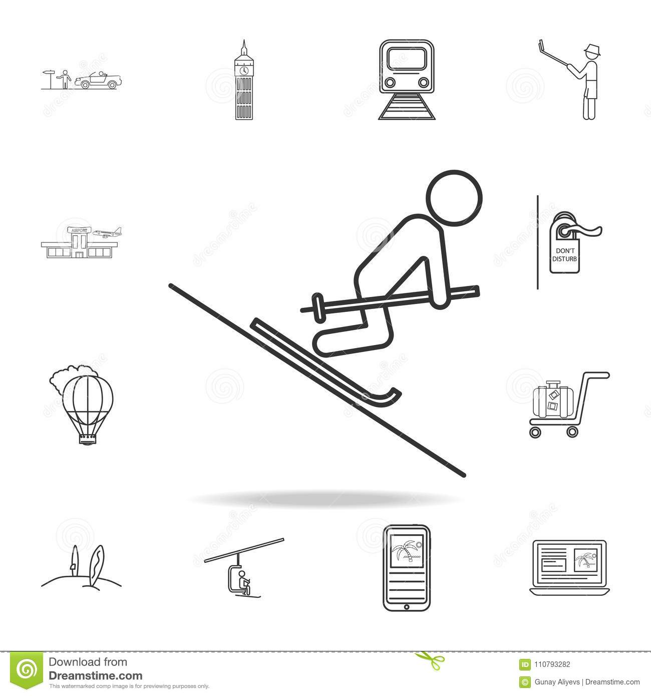 Simple Ski Diagram Electrical Wiring Diagrams 1998 Doo Online Mountain Skiing Line Icon Set Of Tourism And Leisure Icons Signs