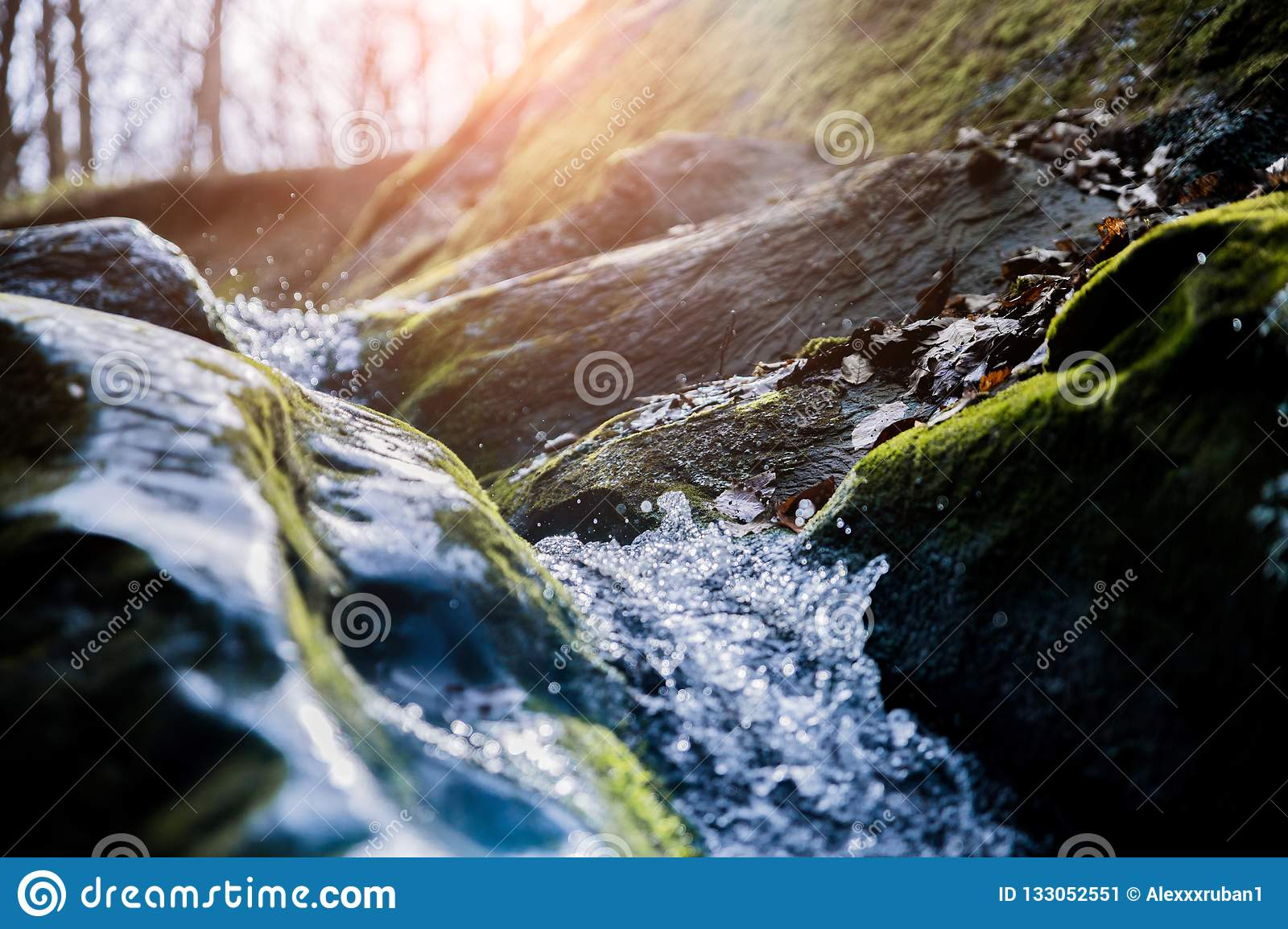 Mountain stream in the autumn sunny day