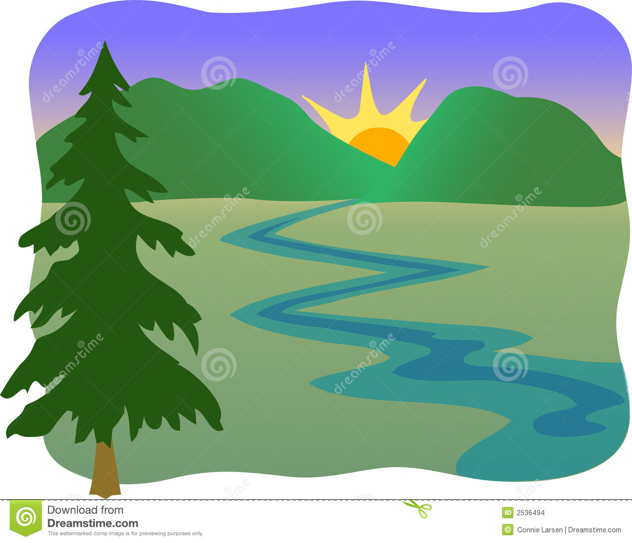 Illustration of a mountain stream, sunrise or sunset with a pine tree ...