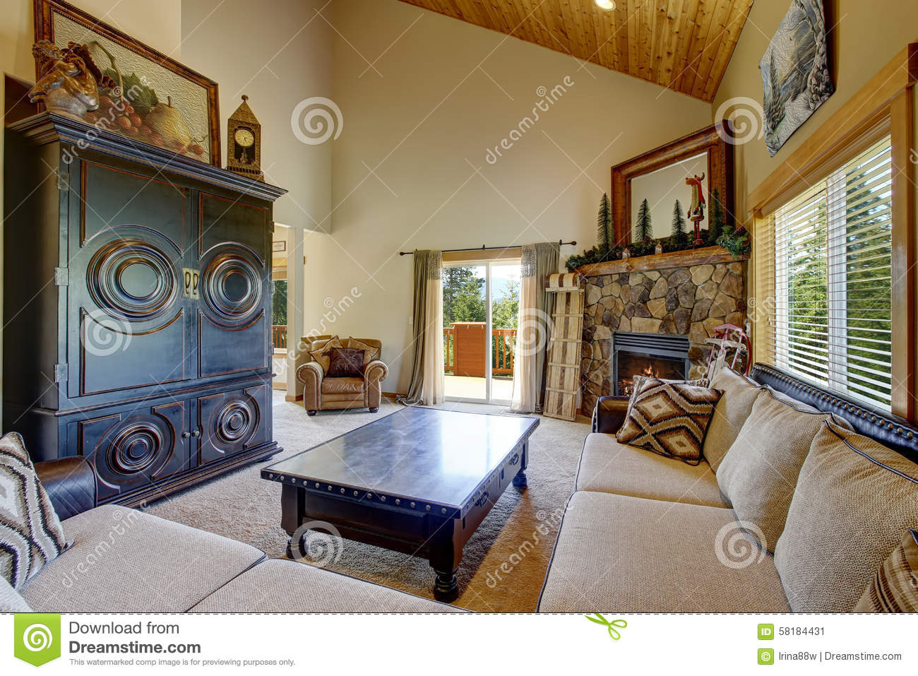 Mountain style decor in modern day living room stock for Modern day home decor