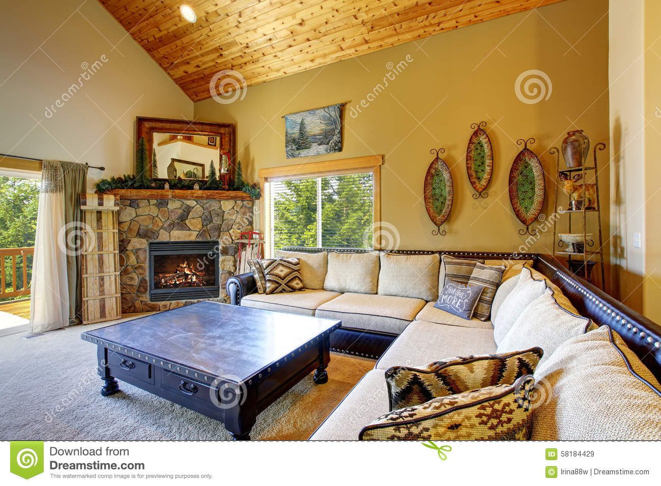 Mountain style decor in modern day living room stock for Modern day living room