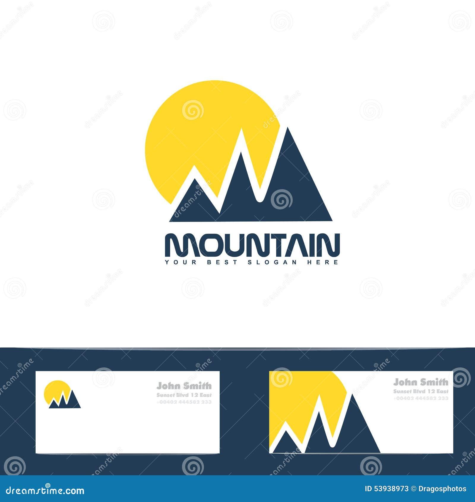 mountain sun blue yellow logo stock illustration image