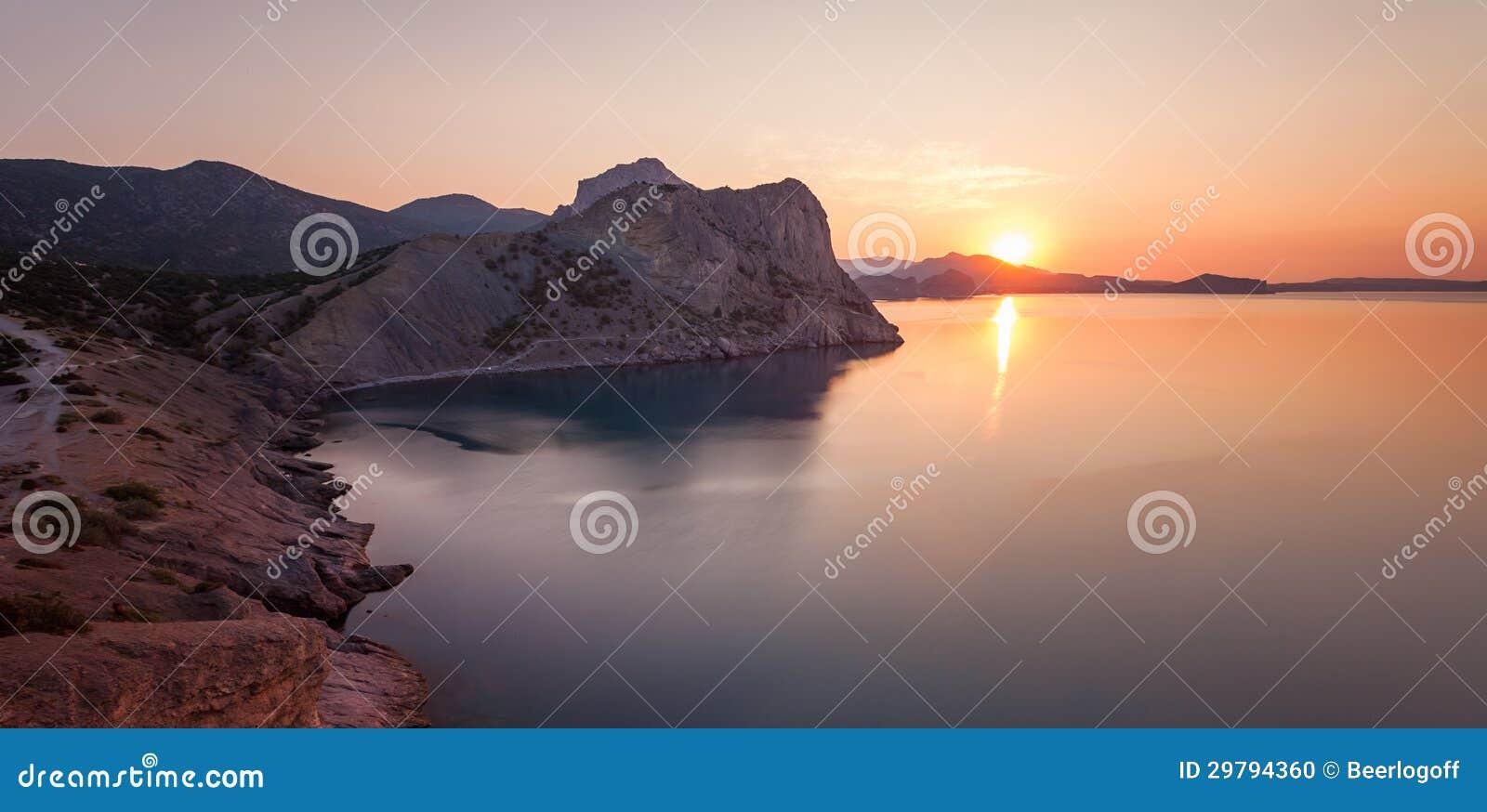 Mountain sunrise at black sea ukraine crimea