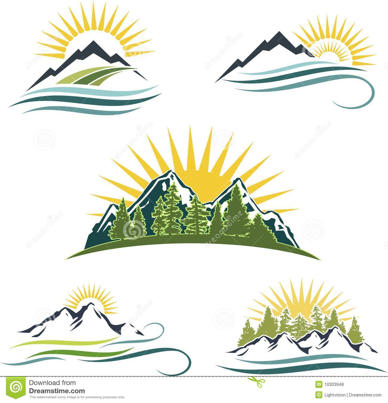 Mountain Sunrise, Nature Icon Set Royalty Free Stock Photos - Image ...