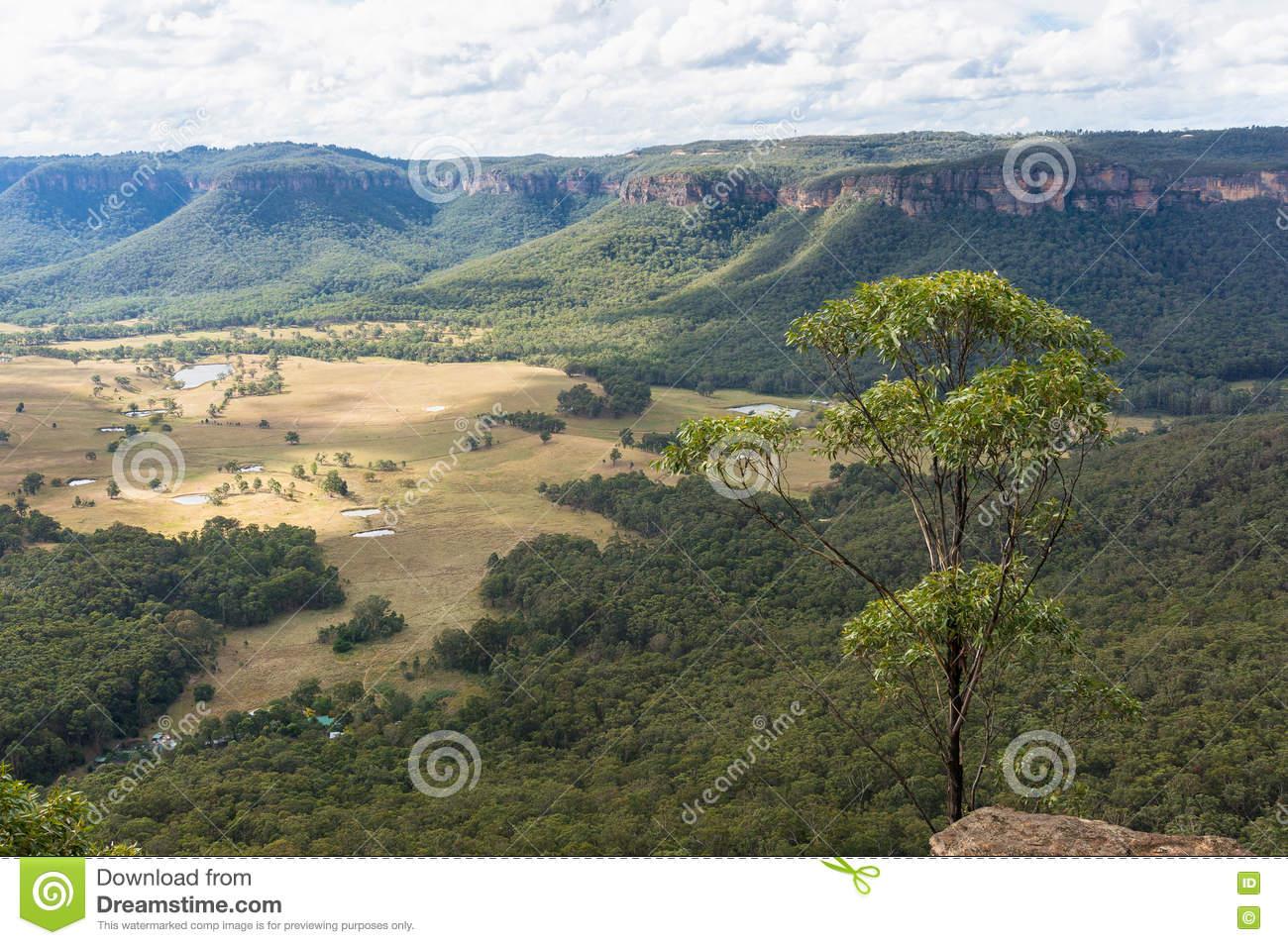 Mountain valley landscape lookout view