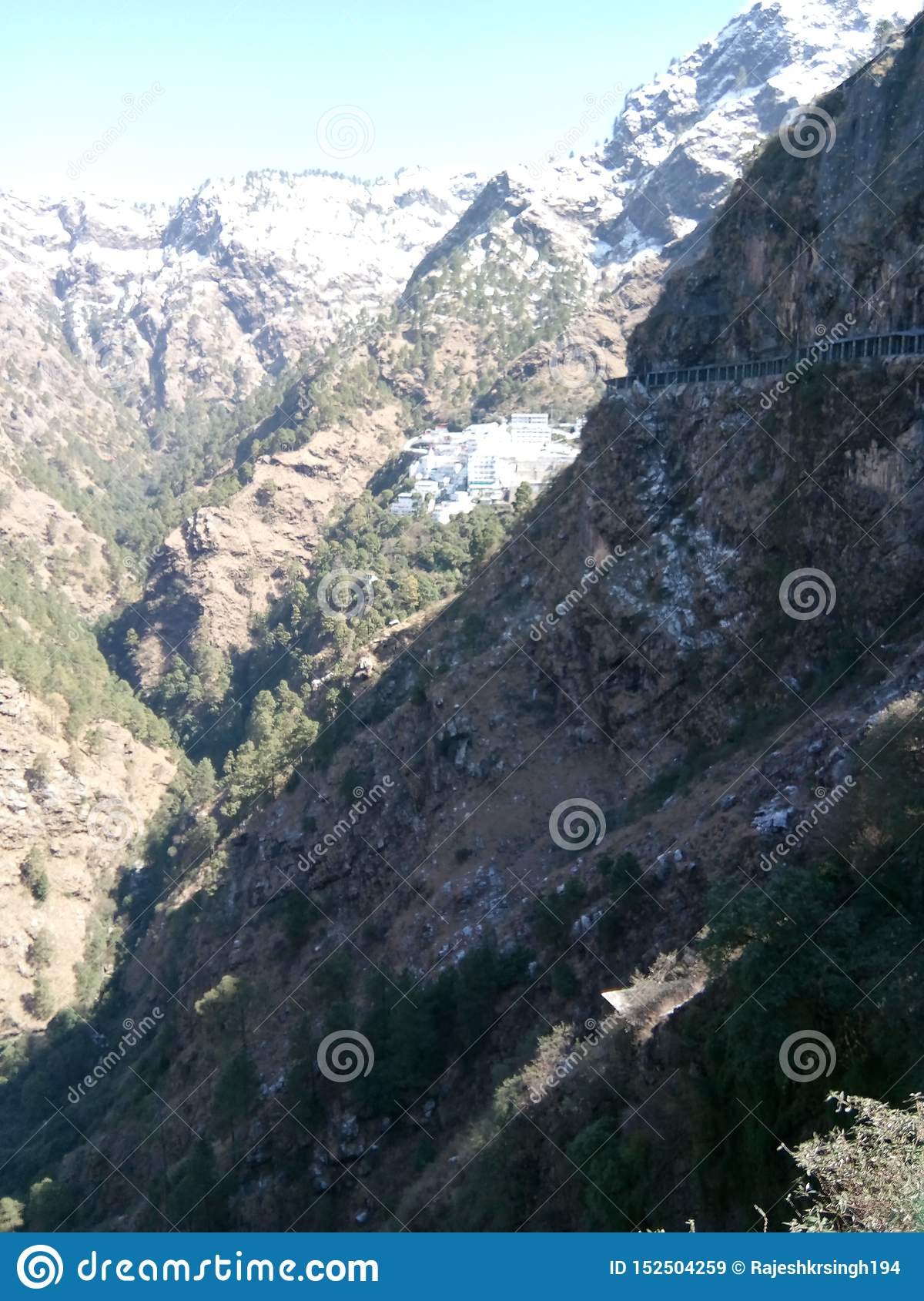 Mountain & valleys in Katra,J & K, India covered with snow at peak