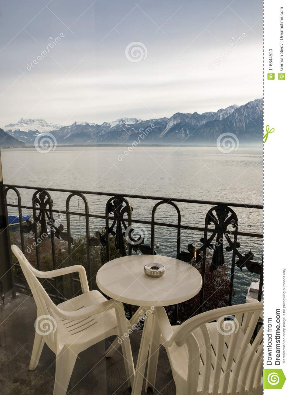Mountain View From The Balcony Stock Photo Image Of Montreux