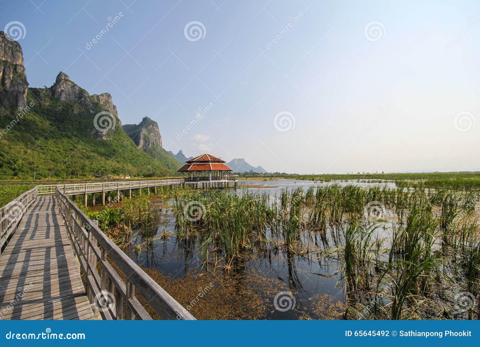Mountain View de pont en bois au yod de ROI de Khao Sam