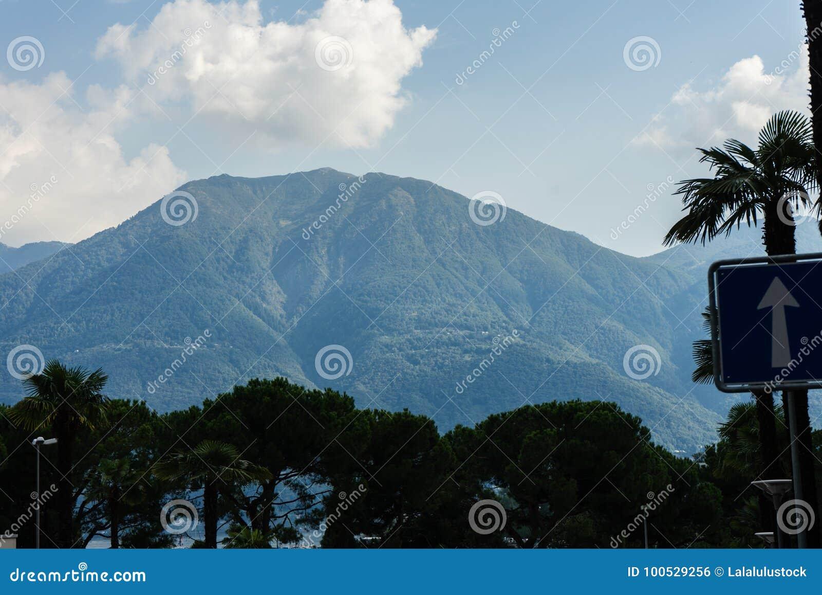 Mountain View do maggiore do lago de Ascona com céu nebuloso e árvore