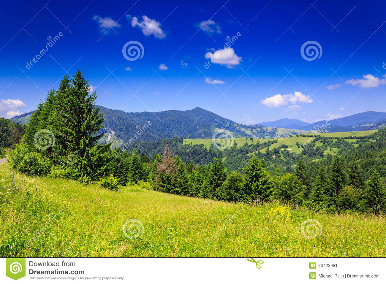 Download Mountain View From Green Meadow In Summer Stock Image - Image of nature, environment: 33423081