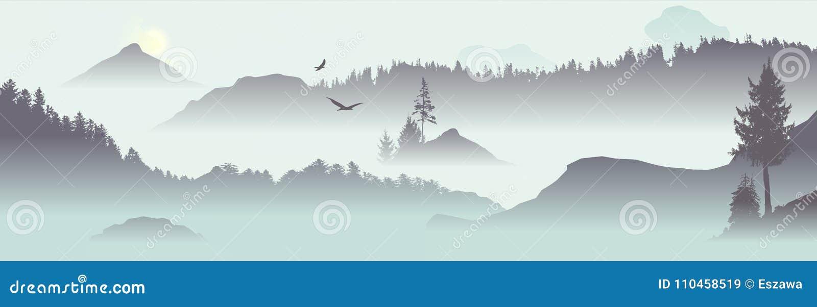 Mountain View med flygfåglar