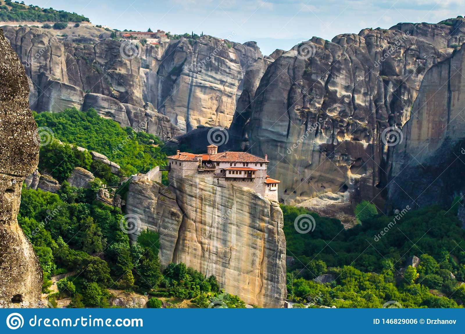 Standalone mountain monastery in Meteora, Greece