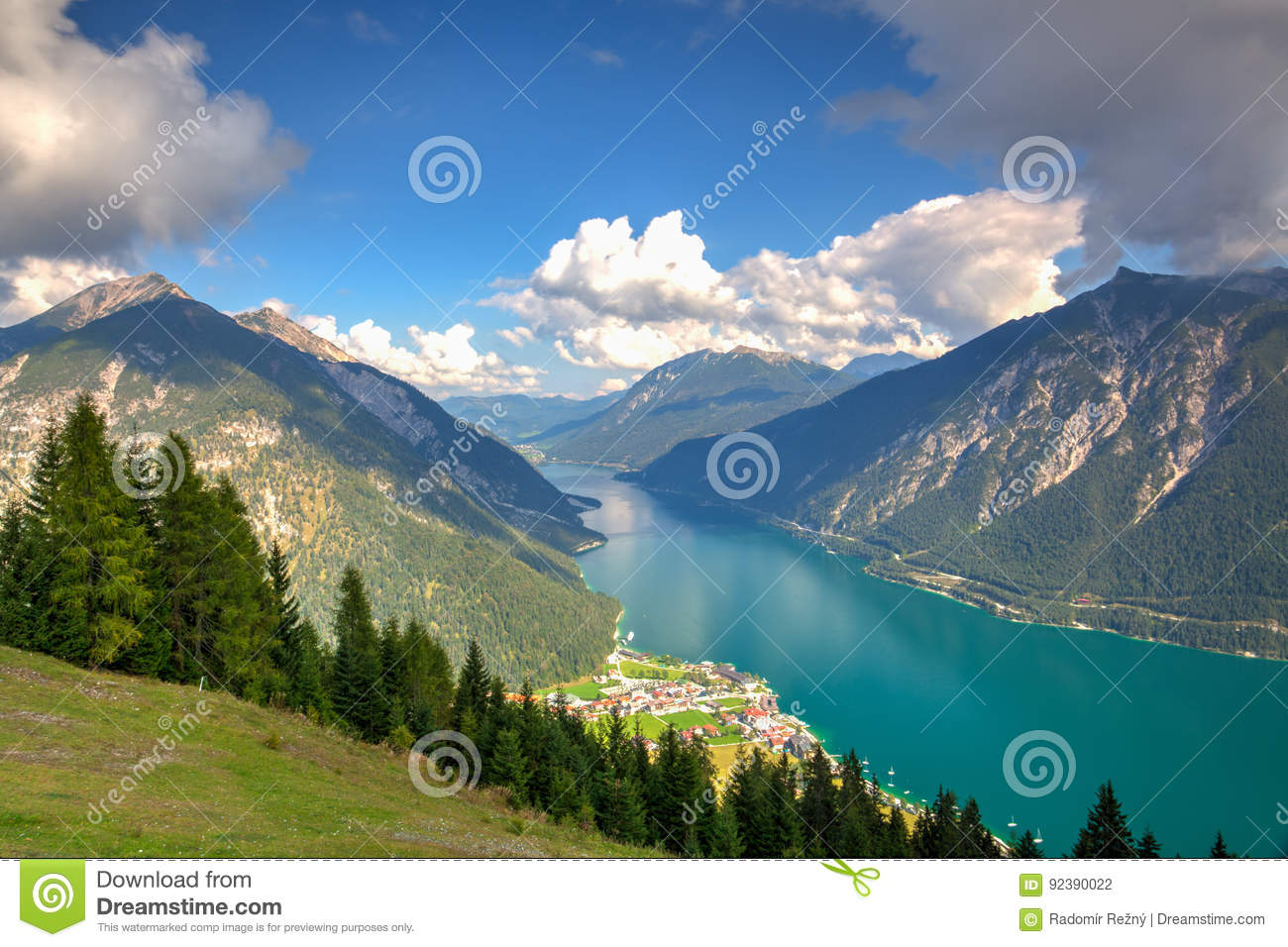 Mountain View From The Top Alpbach Valley Austria Stock Photo