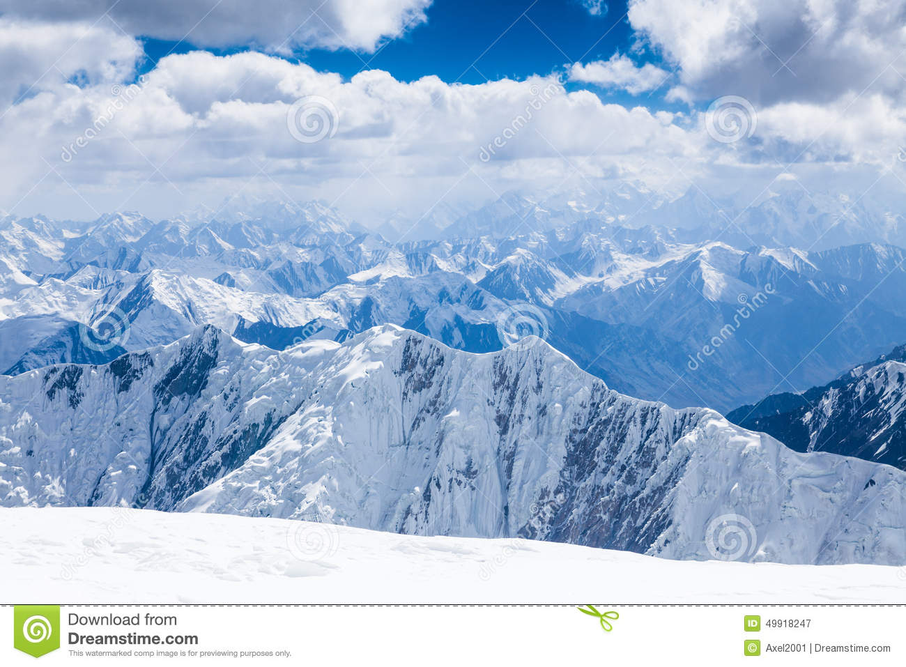 Mountain View From The Top Of Lenin Peak In Pamir Region Stock Image