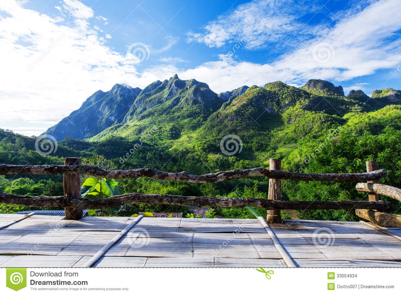 Mountain View From Wooden Balcony Stock Photo Image Of Field