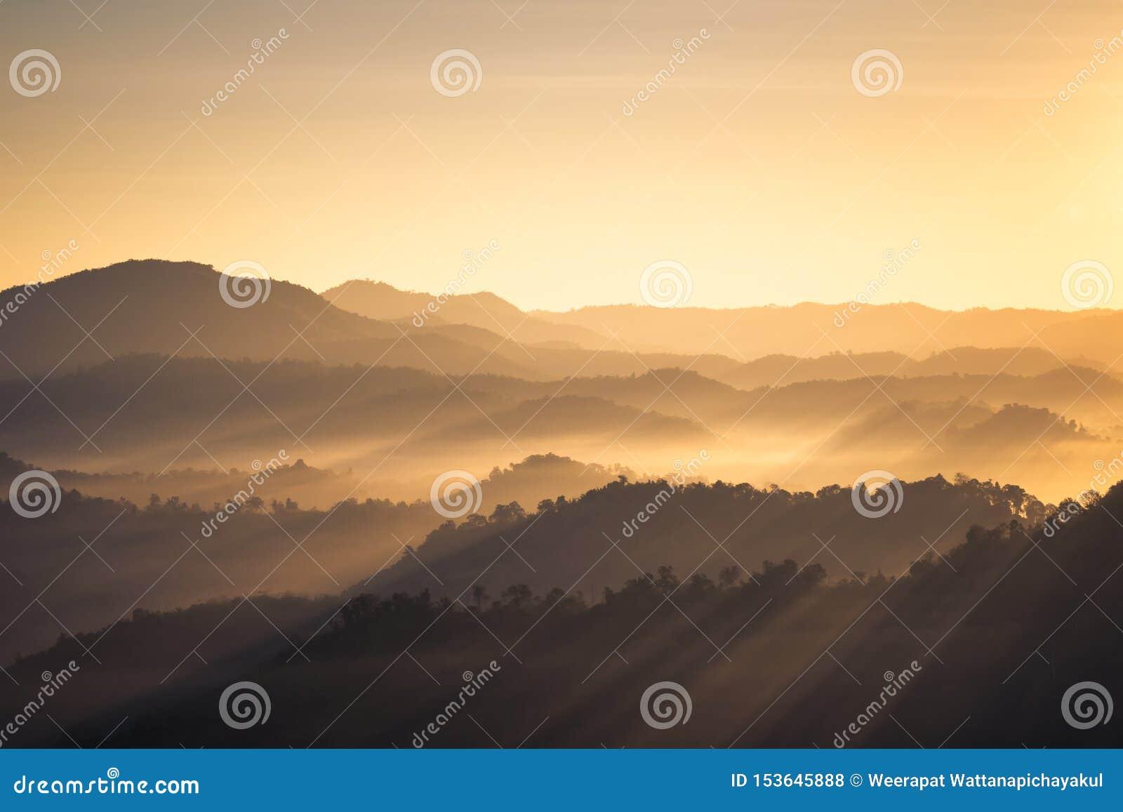 Mountain View z ranku światłem słonecznym w mgle