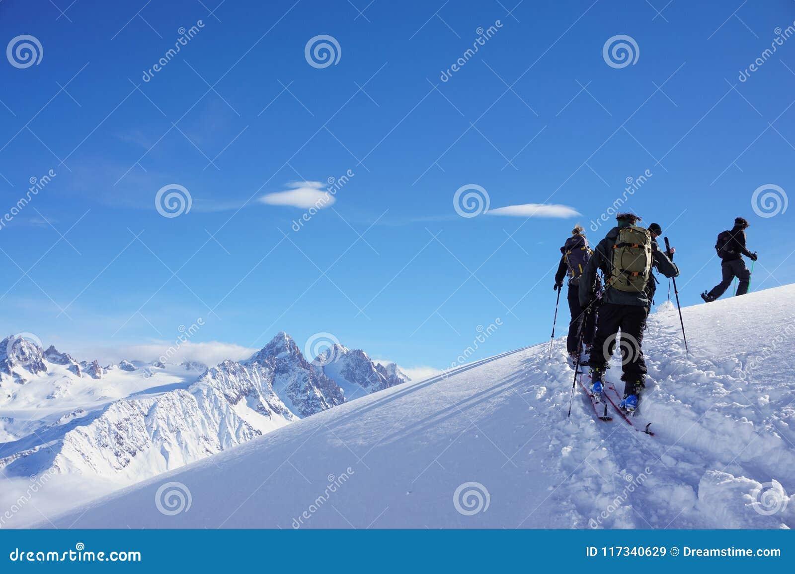 Mountain views in Chamonix while Ski Touring