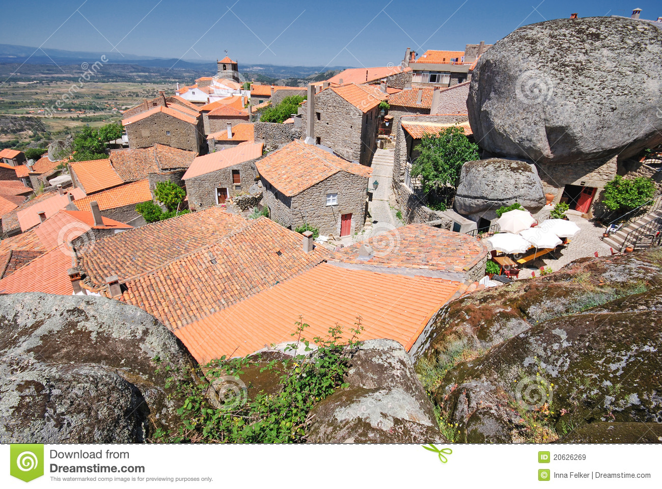 Mountain Village Monsanto Portugal With Red Roofs Stock