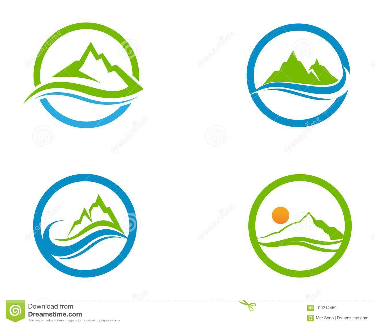 mountain and water logo business template vector stock vector