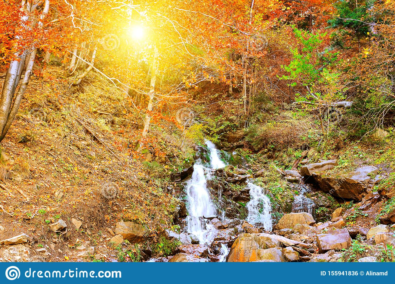8x6.5ft Autumn Mountain Landscape Background Spectacular Waterfall Polyester Photography Backdrops Yellow Leaves Blue Water Beautiful Natural Scenery Wedding Photo Studio Props Postcard