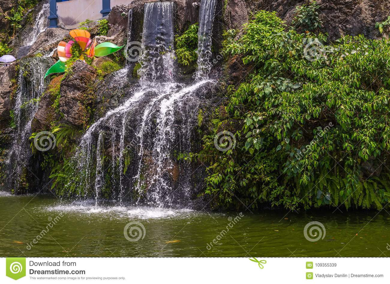 Mountain Waterfall In Batu Cave Mountains On The Kuala Lumpur Ma ...