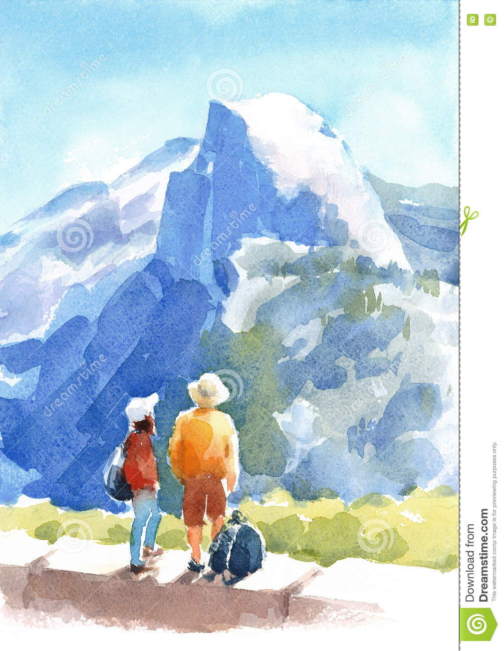 Mountain Yosemite National Park Landscape With People Watercolor ...