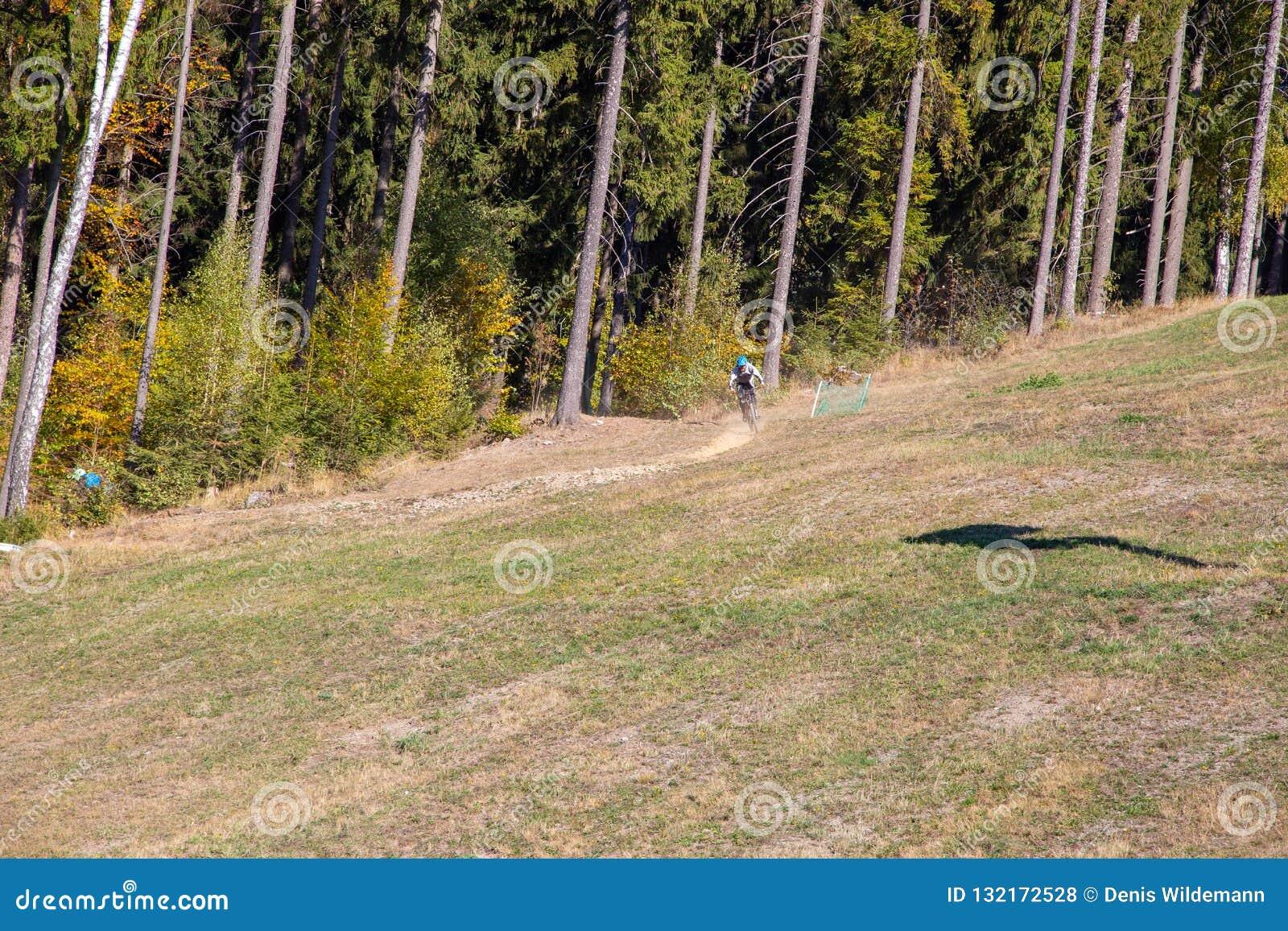 Mountainbiker en una pendiente a través del bosque