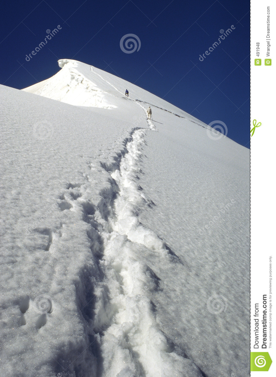 Download Mountaineers Climbing Up To The Summit Stock Photo - Image of alpinist, path: 491948