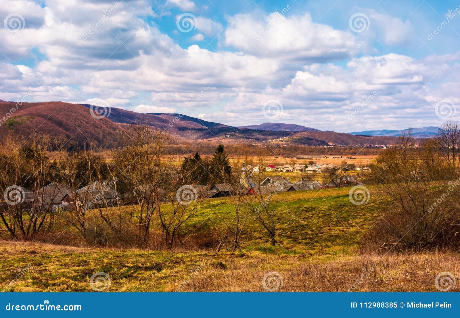 Mountainous countryside in springtime