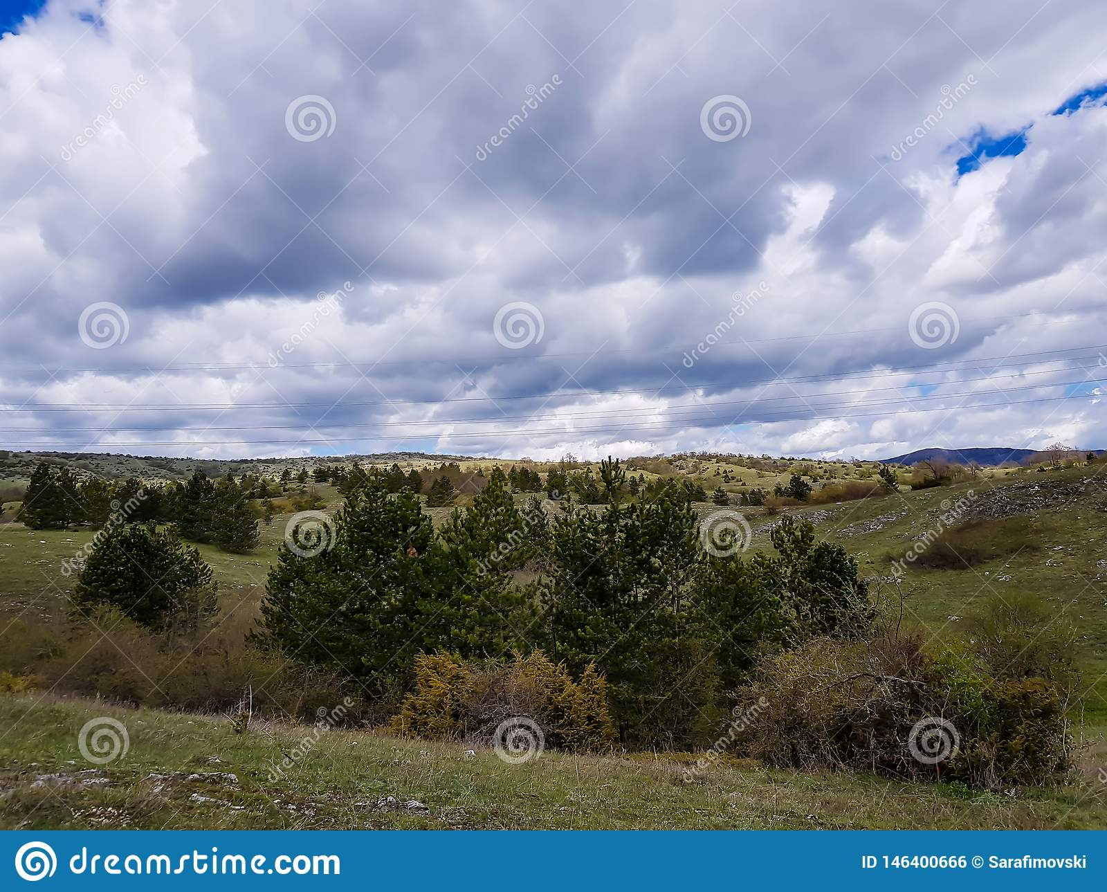 Mountainous springtime countryside, wonderful landscape with grassy meadow and forested hills