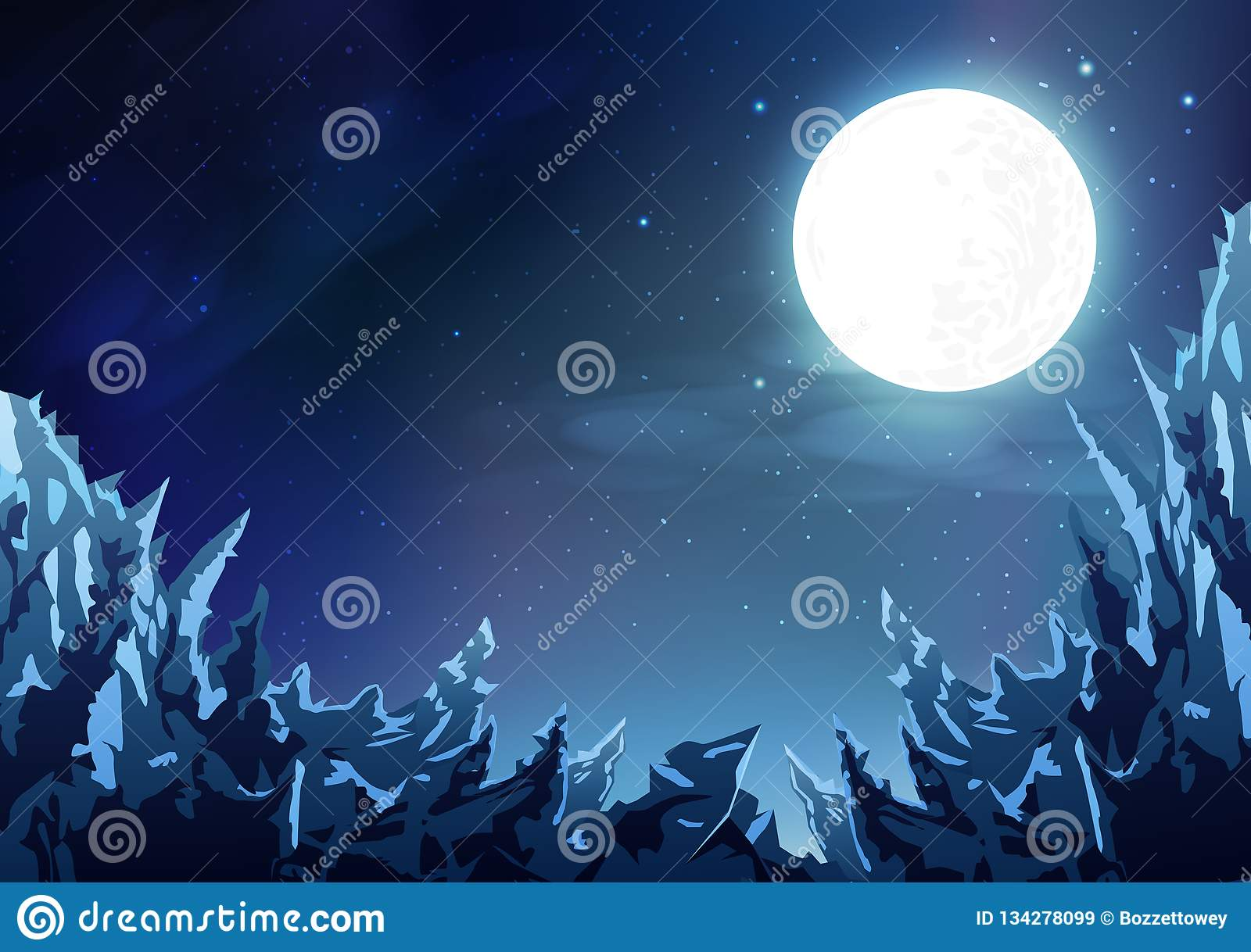 Mountains abstract background, ice panorama fantasy magic night cloudy sky scene with full moon, stars scatter on galaxy space