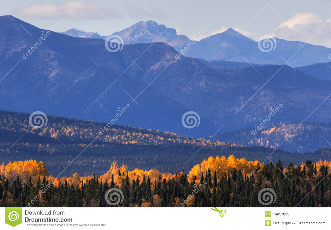 Mountains and colorful trees