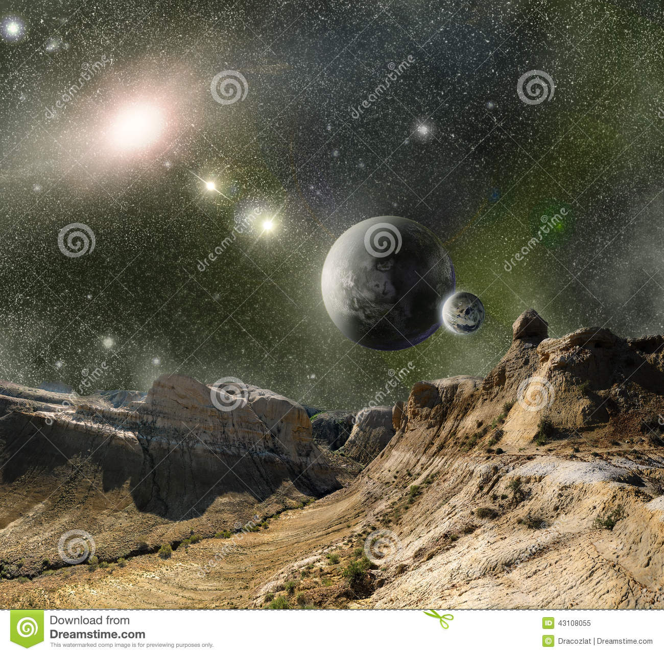 Mountains and cosmos space stock illustration image for Outer space landscape