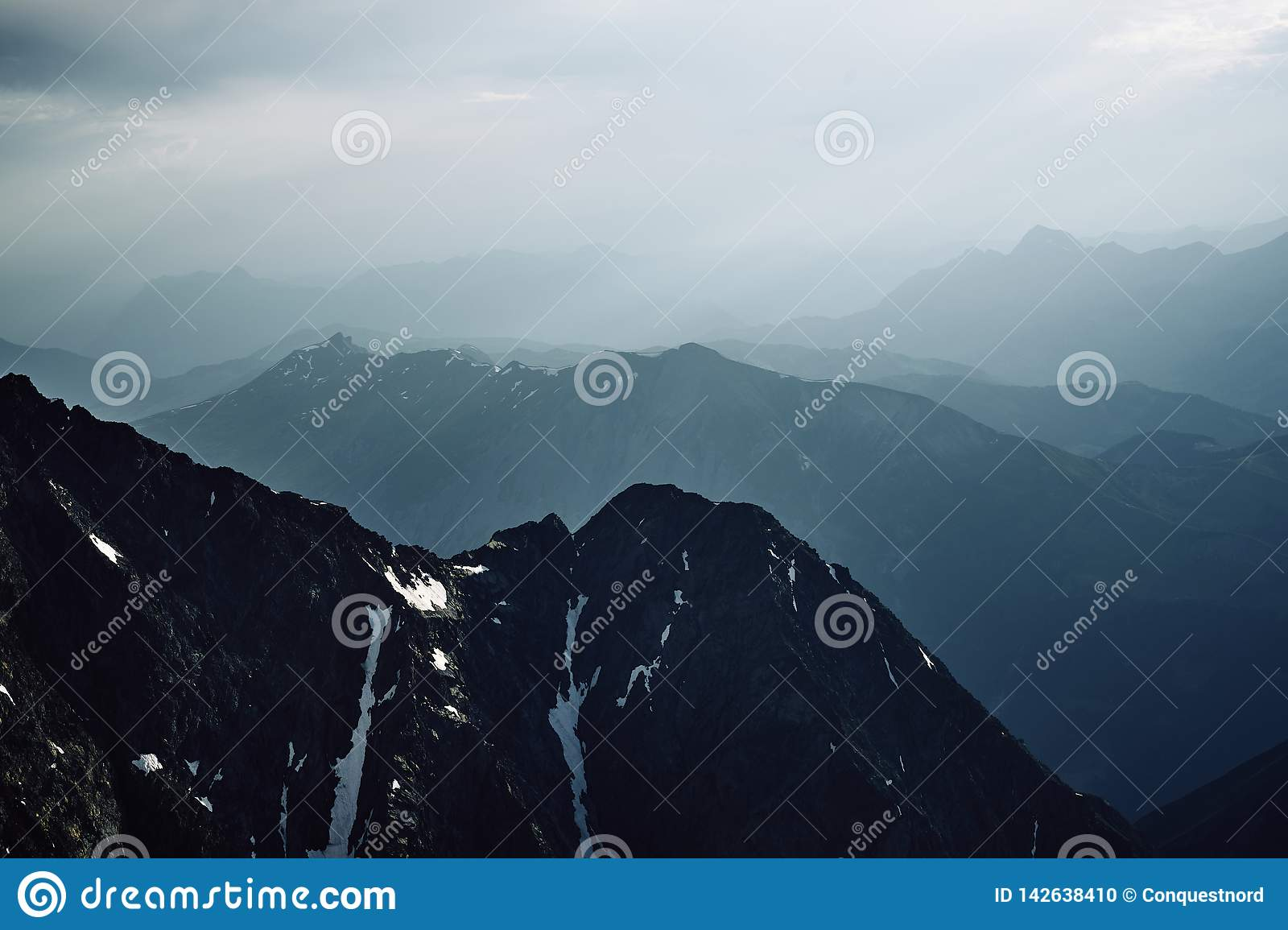 Mountains and snow peaks of Chamonix