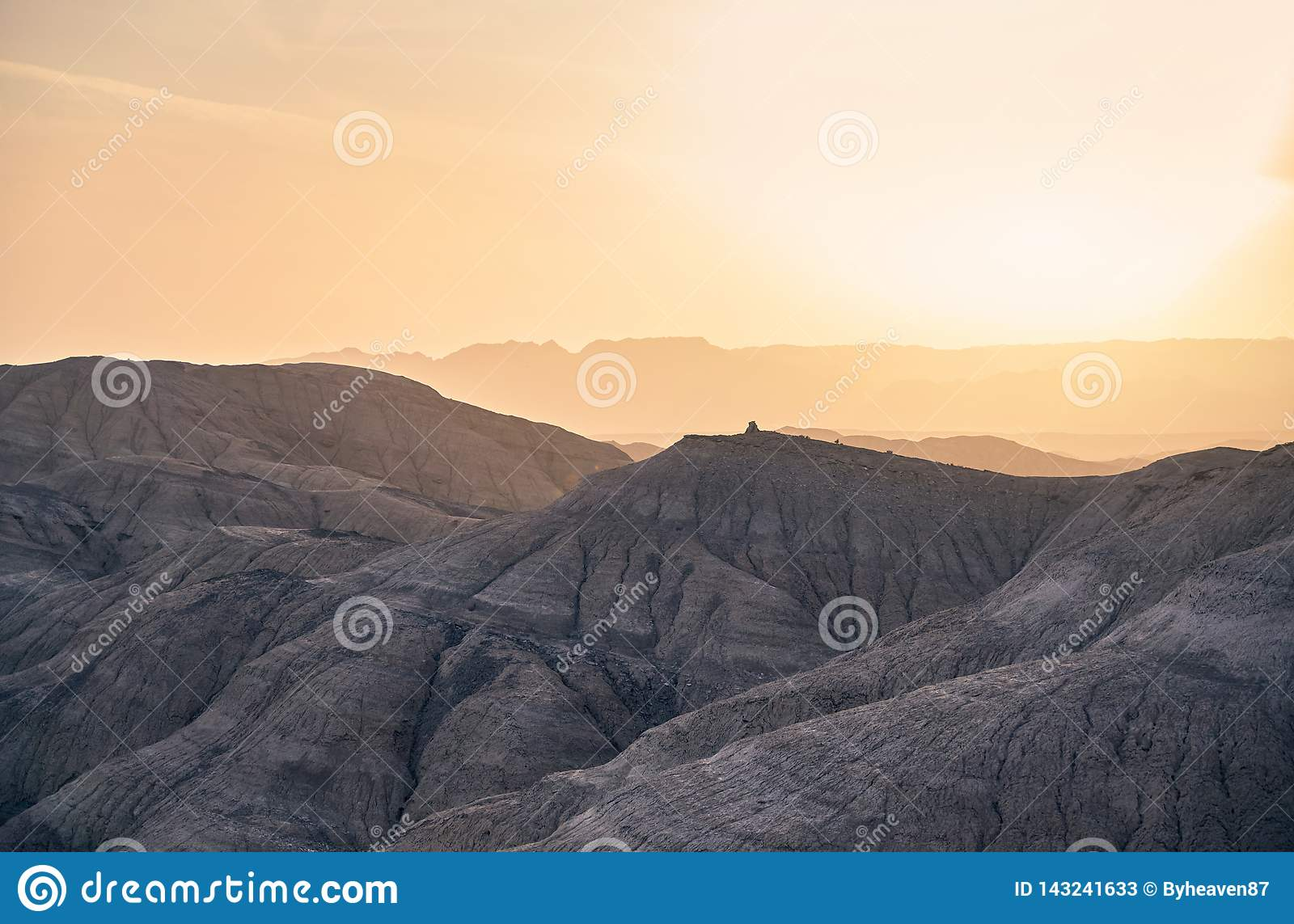 Mountains in the desert at sunset