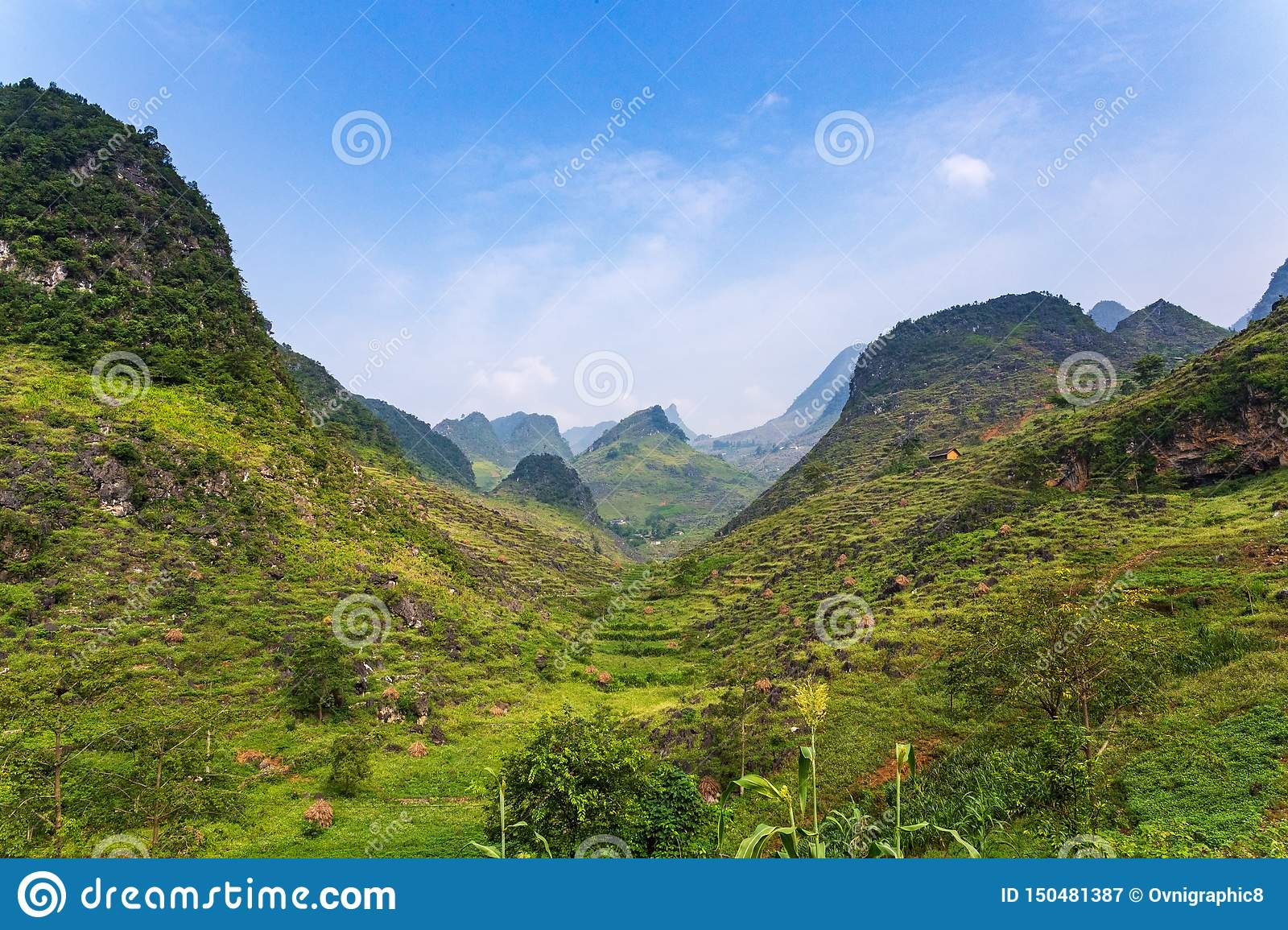 Mountains in Ma Pi Leng Pass in Van, Ha Giang Province, Northern Vietnam