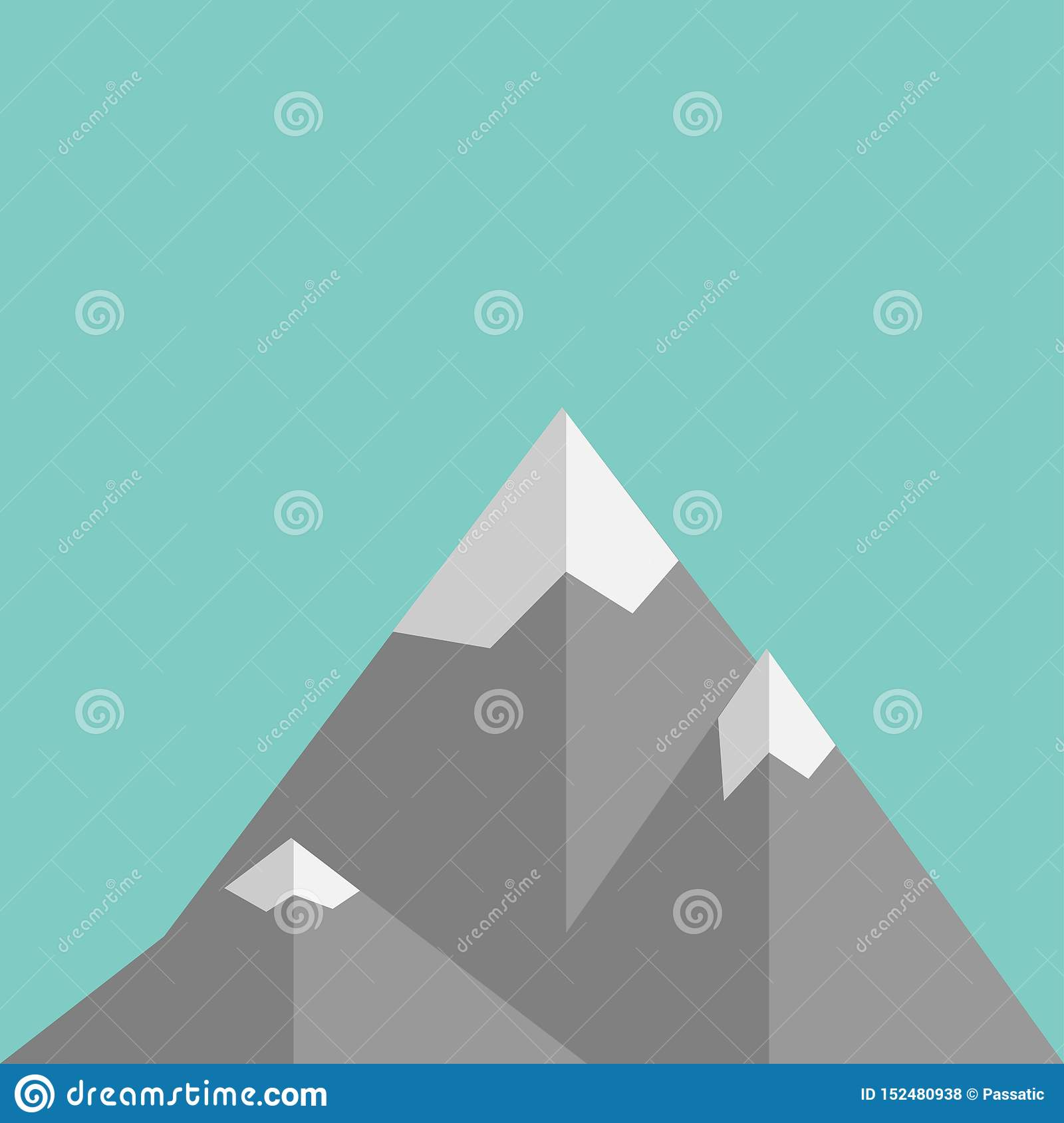 Mountains in flat design on green background