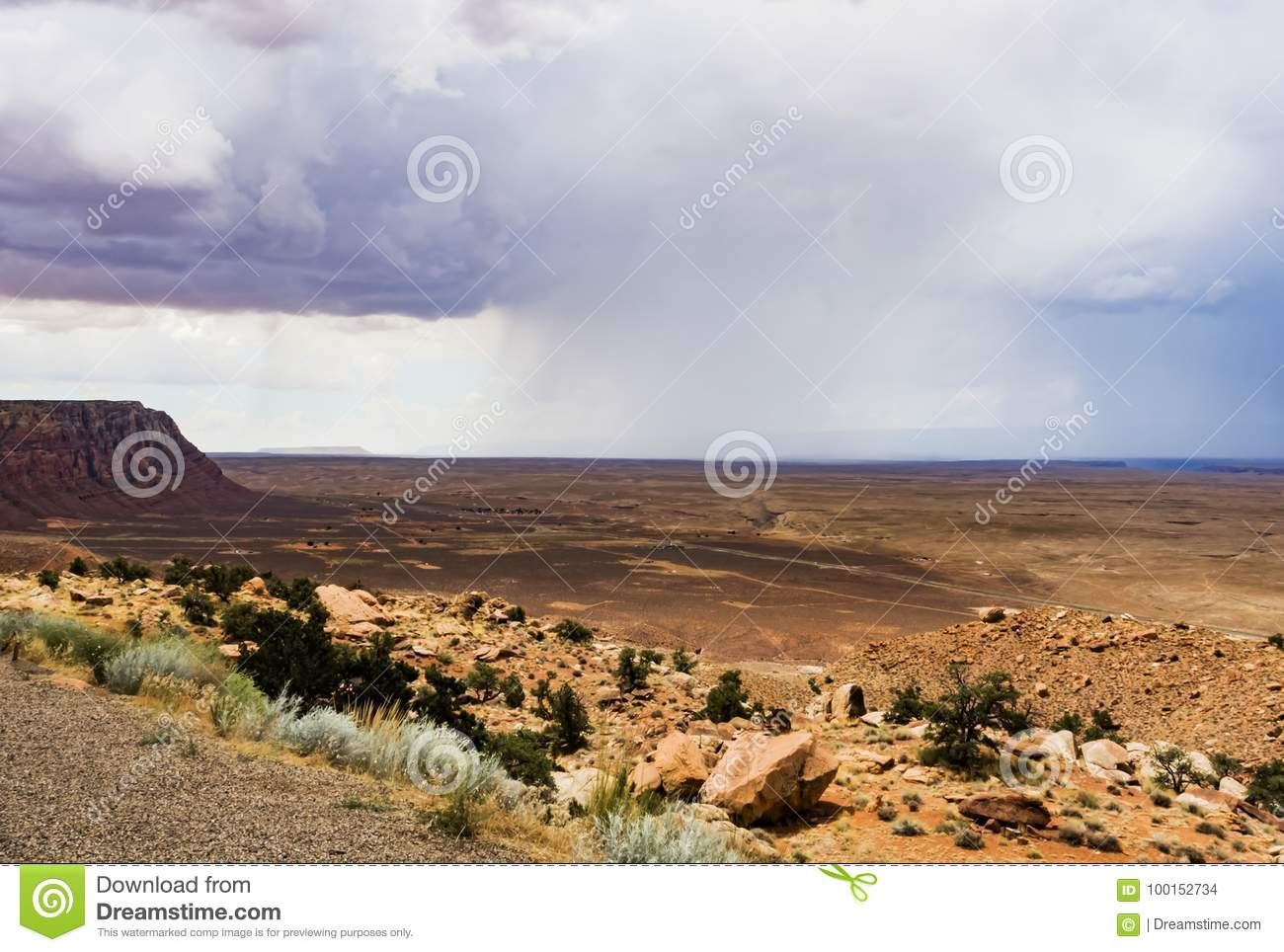 Mountains and isolated summer rain scenic view, Marble Canyon Hwy 89