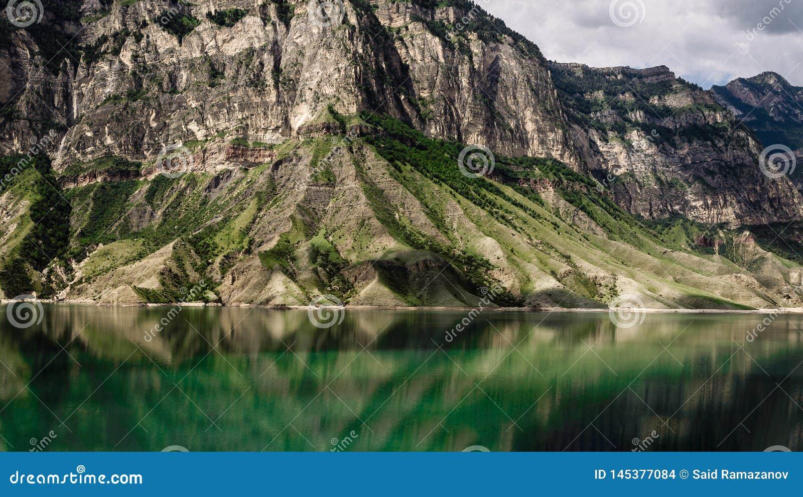 Mountains and lake. Gunib district of Dagestan