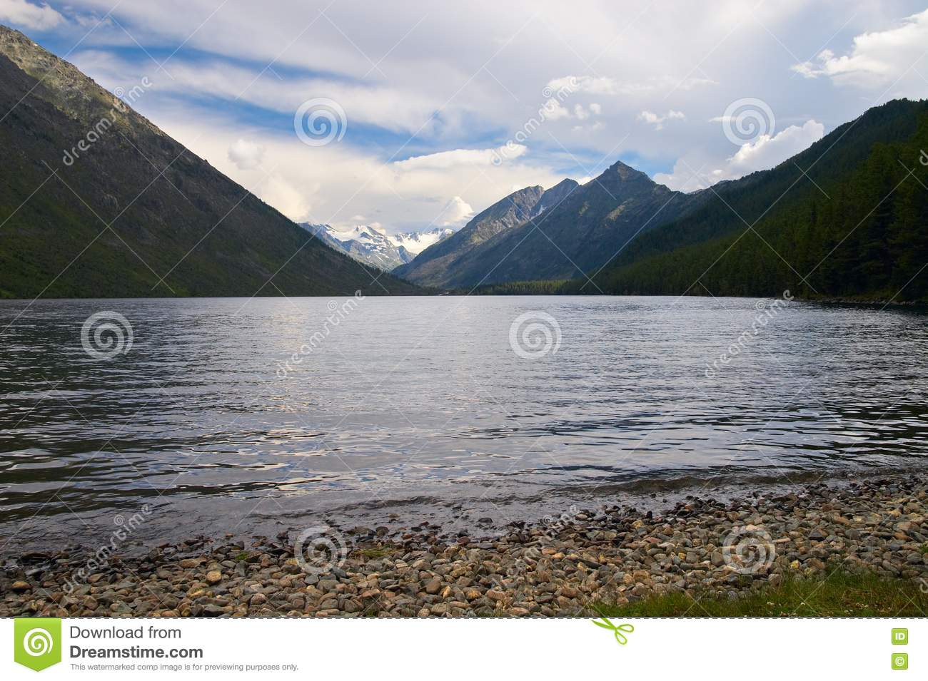 Mountains landscape and lake.