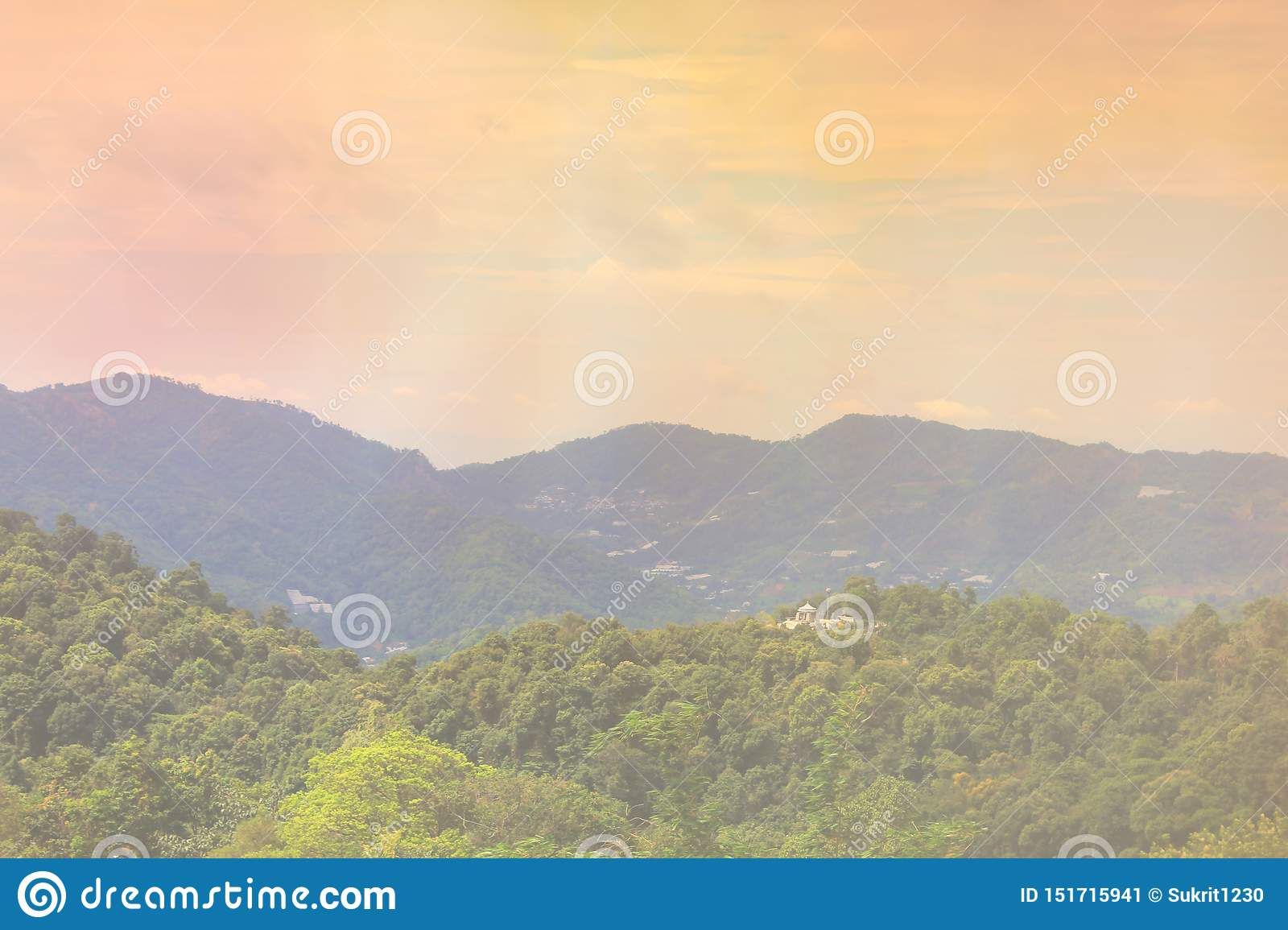 Mountains and light in the morning Beautiful natural landscape in the summer time - Image