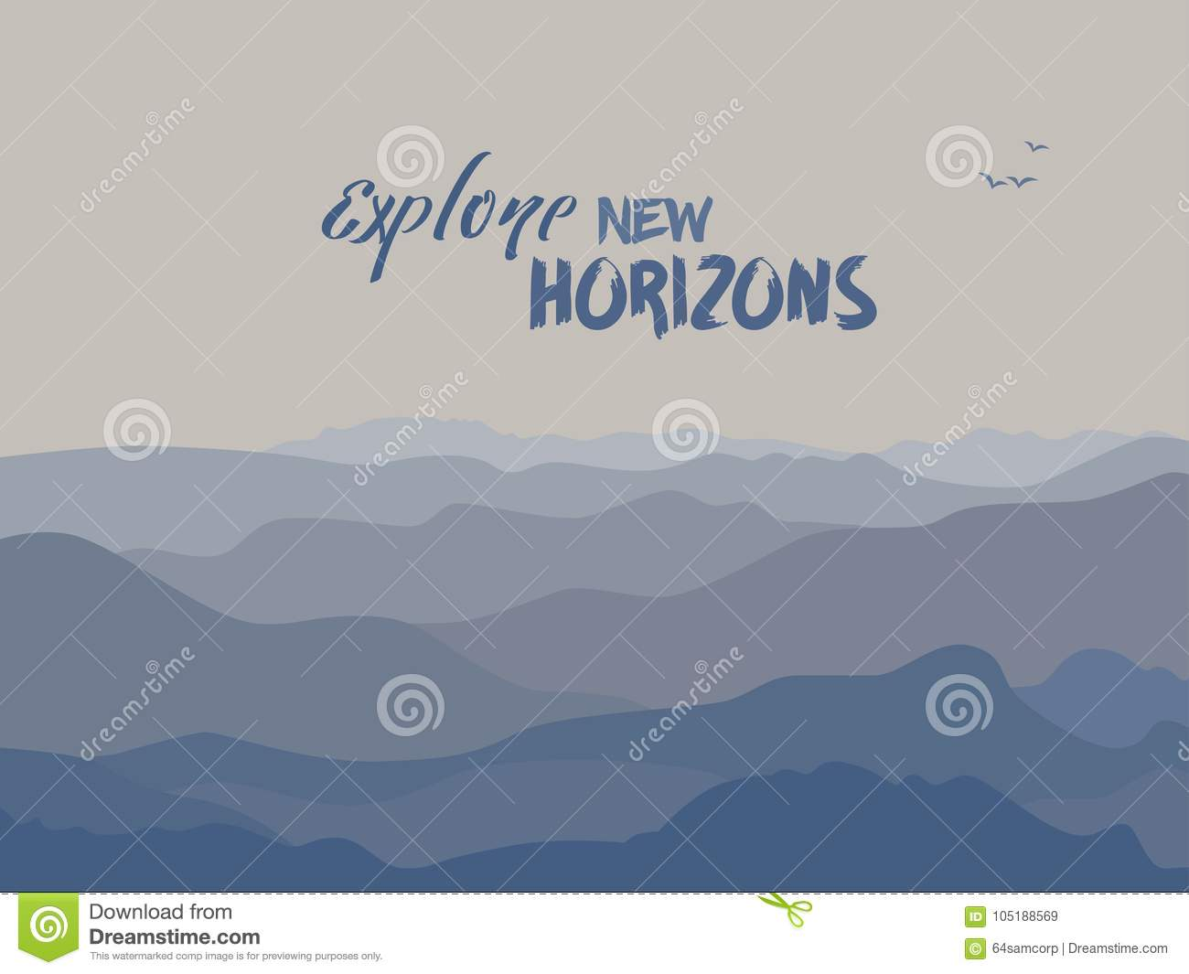 Mountains And Motivation Quote Stock Illustration - Illustration of ...