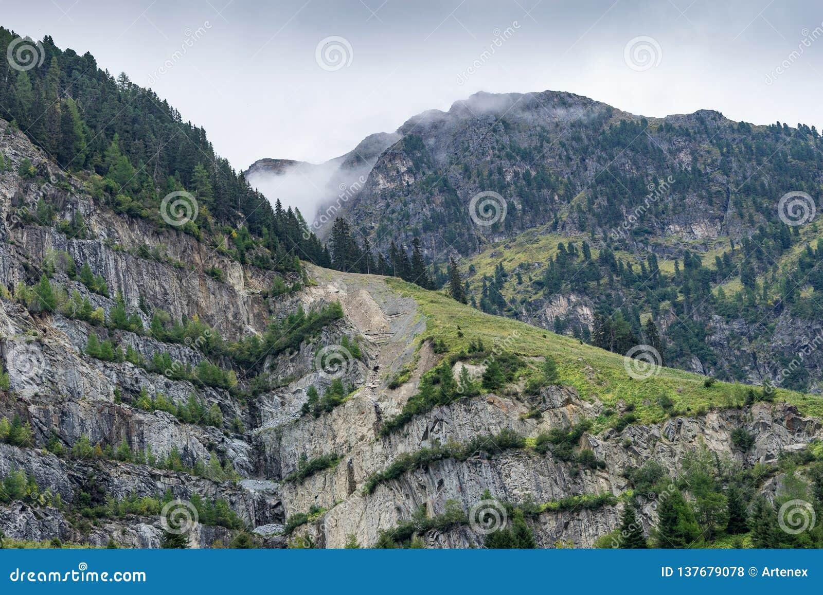 Mountains, peaks, lake, everlasting ice and trees landscape.
