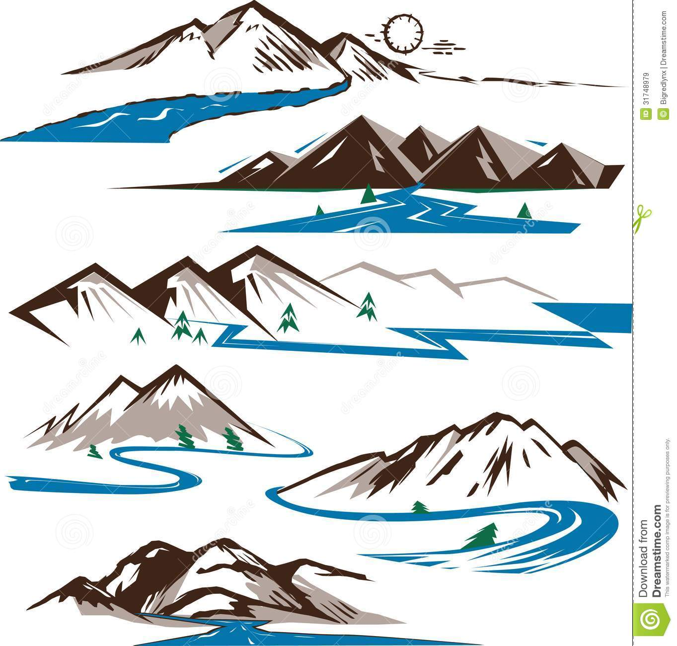 Clip art collection of stylized rivers and mountains.