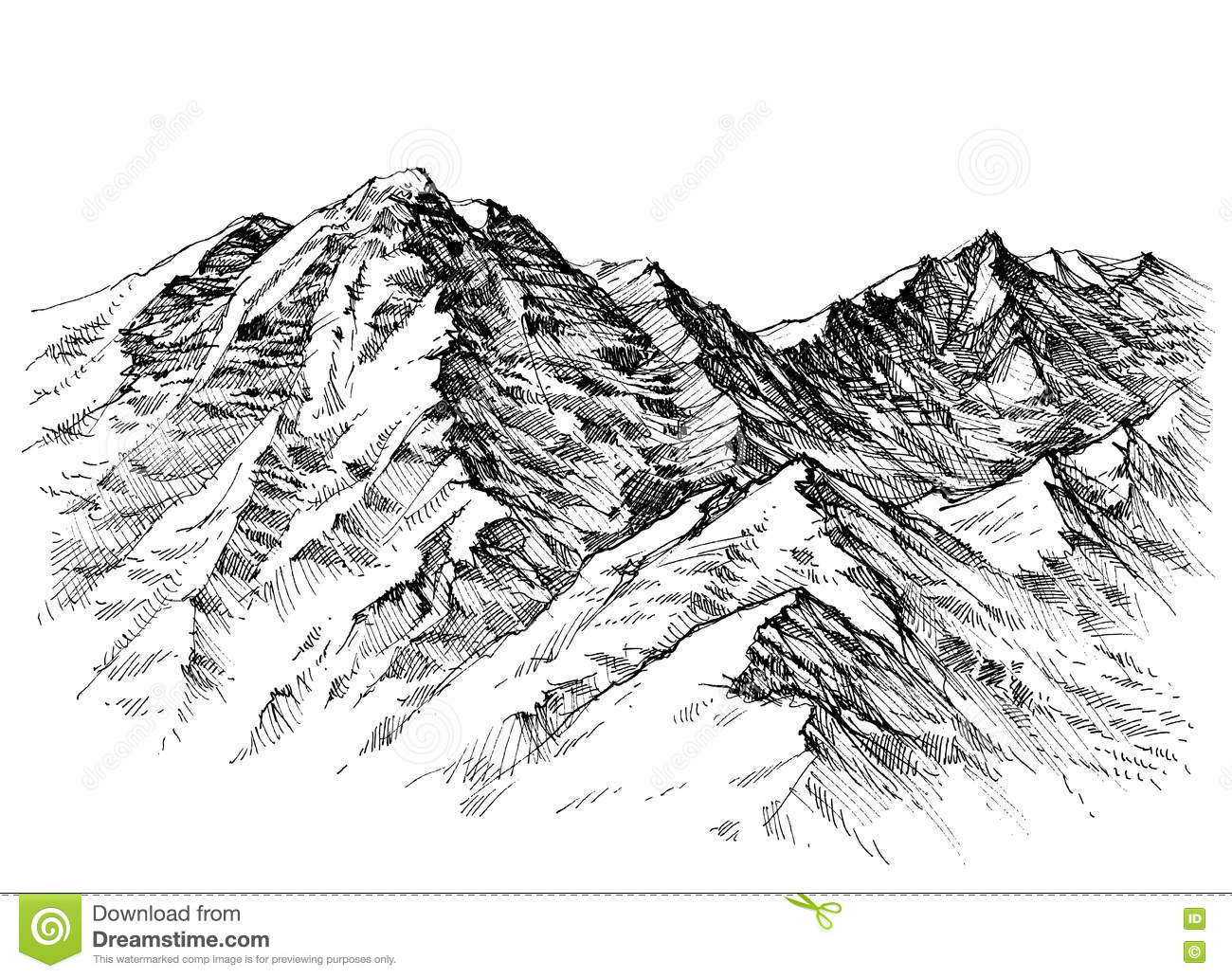 Line Art Mountains : Mountains sketch stock vector illustration of holiday