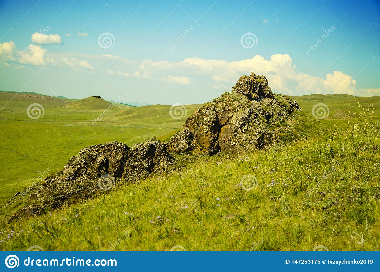 Mountains and steppes of Khakassia in Sunny summer